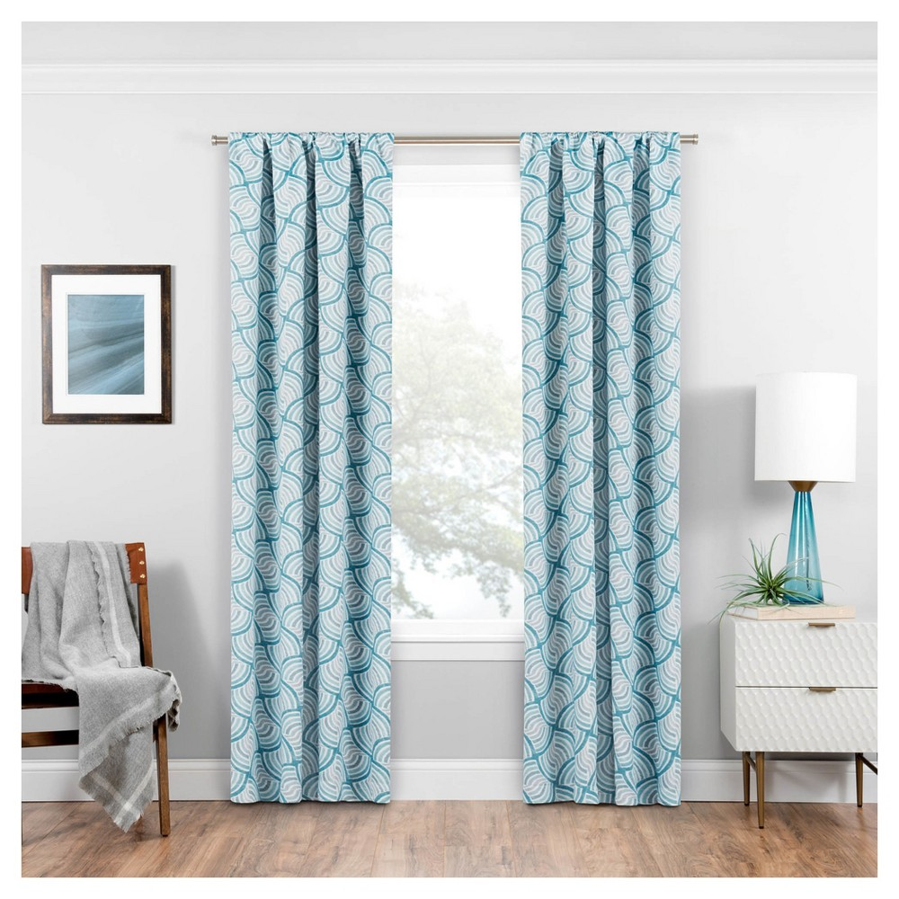 Benchley Thermaweave Blackout Curtain Panel Geometric Teal (Blue) (37
