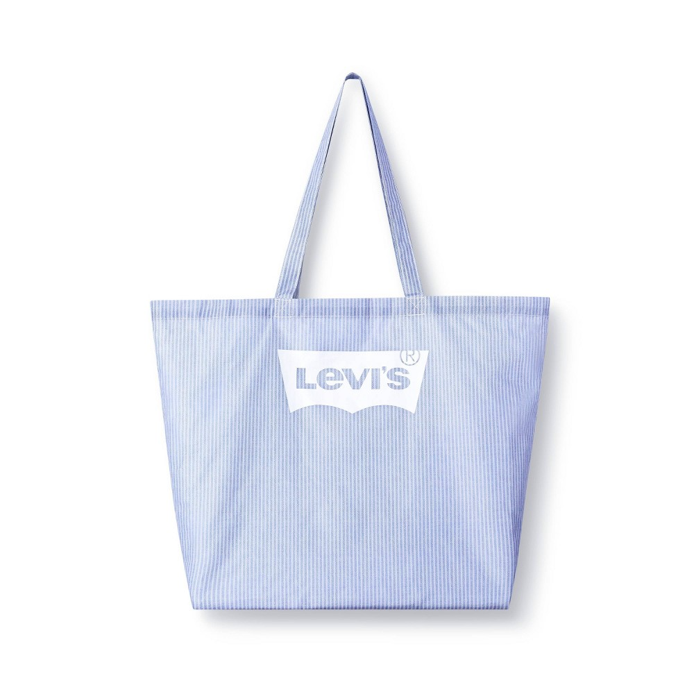 Striped Reusable Shopping Bag White Light Blue Levi 39 S 174 X Target