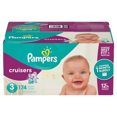 Pampers Cruisers Disposable Diapers One Month Supply - Size 3 (174ct)