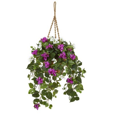 """30"""" x 28"""" Artificial Mixed Bougainvillea Plant Hanging Basket Purple/White - Nearly Natural"""