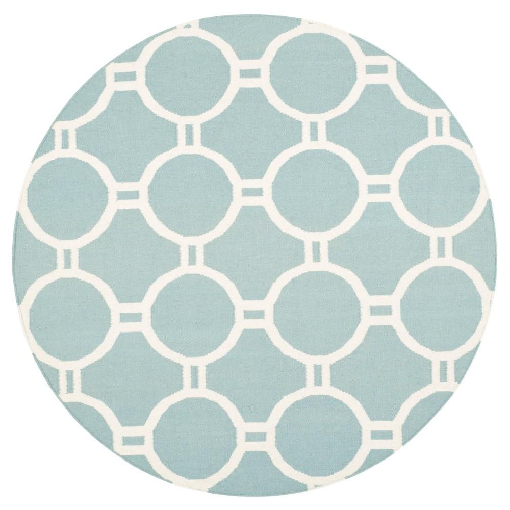Dhurries Rug - Light Blue/Ivory - (6'x6' Round) - Safavieh