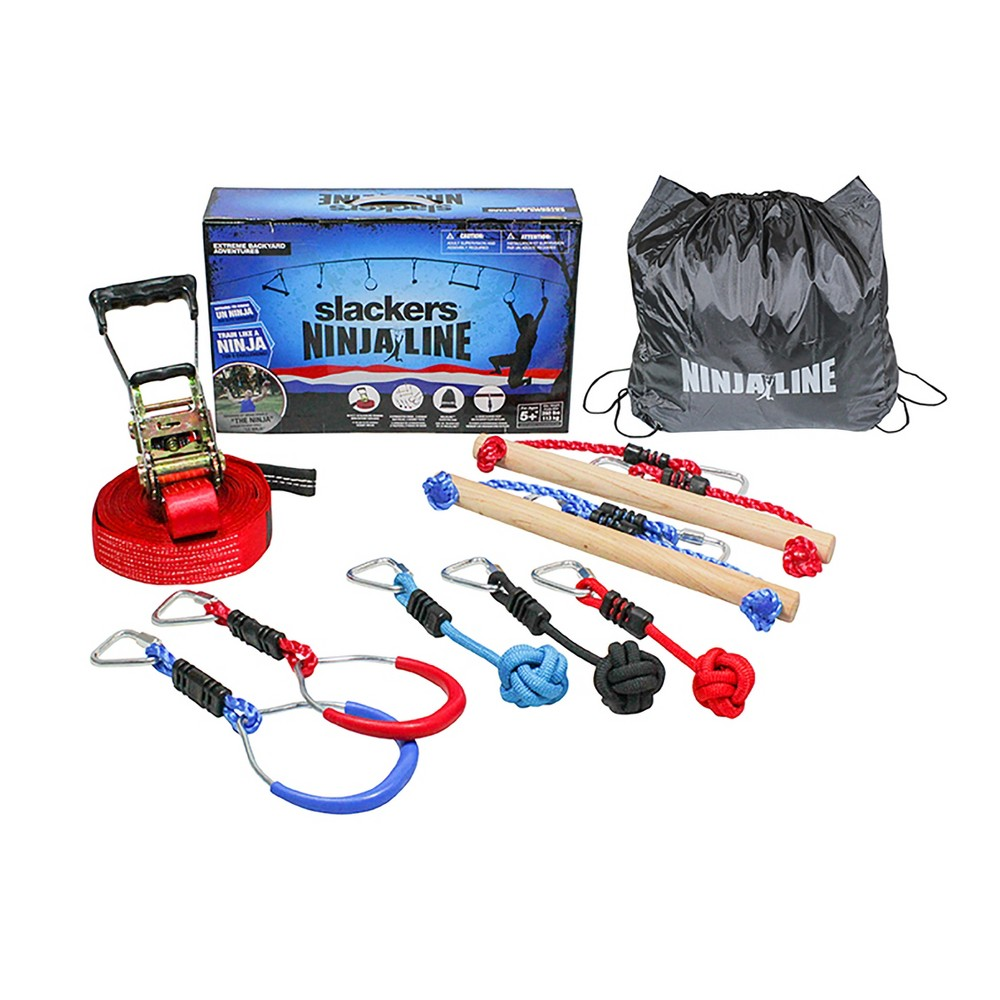 NinjaLine 30- Feet Intro Kit with 7 Hanging Obstacles, Red/Blue