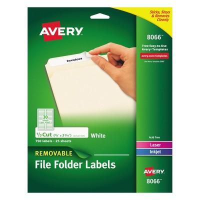 Avery® 08066, Removable File Folder Labels, Inkjet/Laser, 2/3 x 3 7/16,  White, 750/Pack