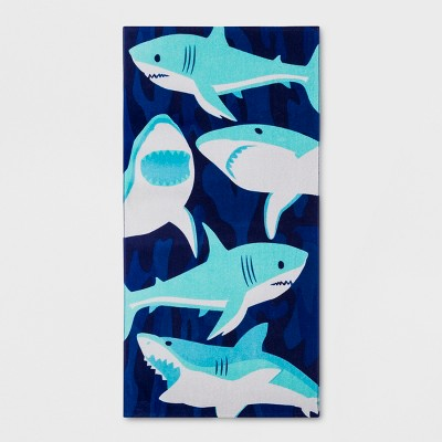 Sharks Beach Towel Blue - Sun Squad™