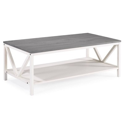 "48"" Two Tone Distressed Wood Farmhouse Coffee Table Gray/White Wash - Saracina Home"