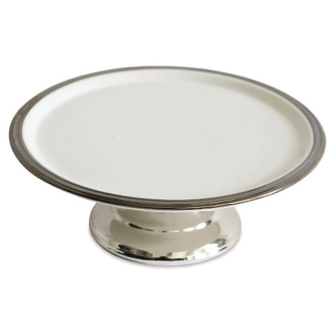 Baum Bros. 11in Pedestal Cake Plate - White & Silver - image 1 of 1