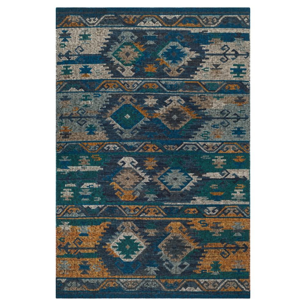 Tribal Design Woven Area Rug 6'X9' - Safavieh, Blue Gold/Multi