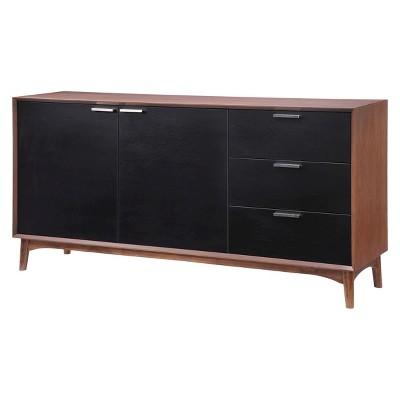 mid century modern 67 buffet cabinet walnut black zm home target rh target com