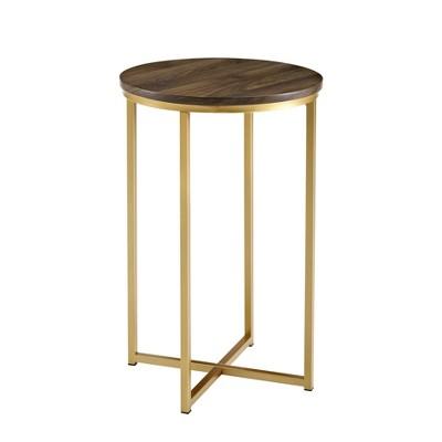 "16"" X Base Glam Round Side Table Dark Walnut/Gold - Saracina Home"