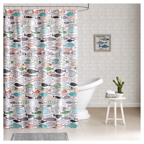 Fish Shower Curtain Green White