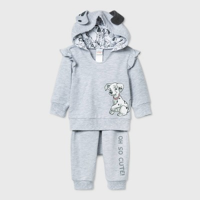 Baby Girls' 2pc 101 Dalmatians Long Sleeve Fleece Top and Bottom Set - Gray 3-6M