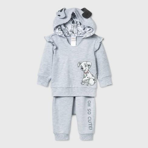 Baby Girls' 2pc 101 Dalmatians Long Sleeve Fleece Top and Bottom Set - Gray - image 1 of 3