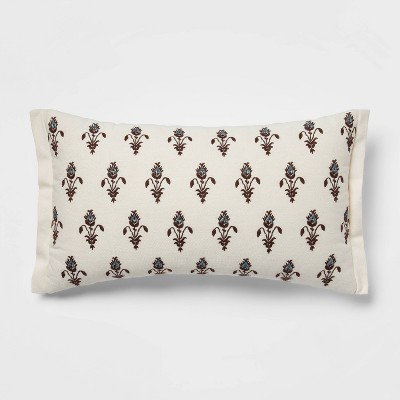 """12""""x20"""" Floral Embroidered Lumbar Throw Pillow with Beads Cream/Blue - Threshold™"""