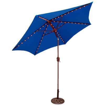 9u0027 Round Lighted Patio Umbrella   Blue