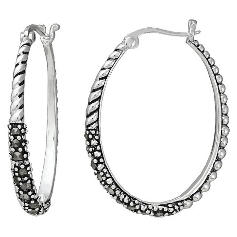 Marcasite Rope Oval Earring - Silver - image 1 of 1
