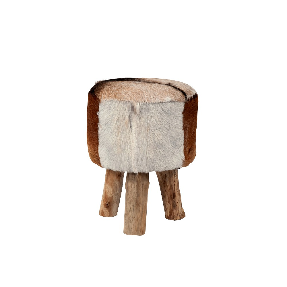 Nellie Natural Hide Stool Brown - East At Main