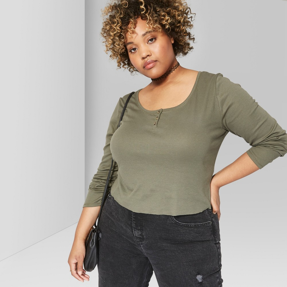 Women's Plus Size Long Sleeve Henley T-Shirt - Wild Fable 3X Olive, Green