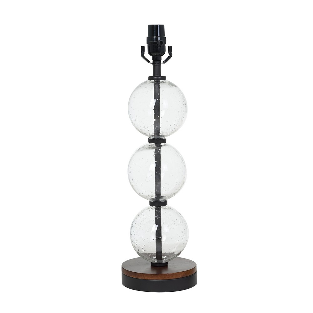 Large Stacked Clear Seeded Glass Table Lamp Base Black/Wood - Threshold