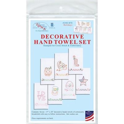"Jack Dempsey Stamped Decorative Hand Towels 17""x28"" 7/Pkg-Holidays"