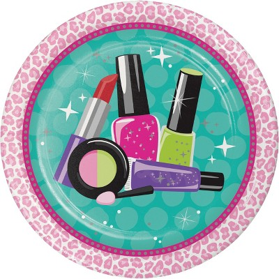 24ct Sparkle Spa Party Icon Paper Plates Pink