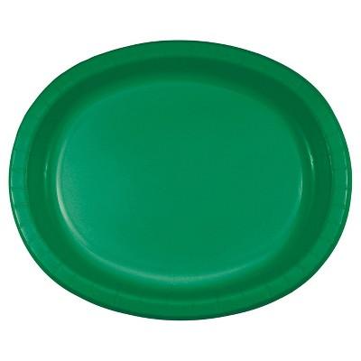 "Emerald Green 10"" x 12"" Oval Platters - 8ct"
