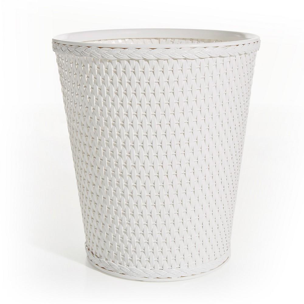 Image of Carter Round Bathroom Wastebasket White LaMont Home