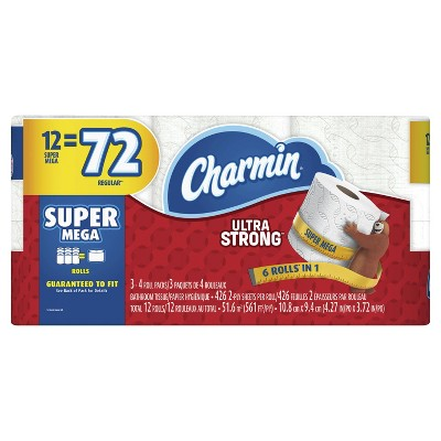 Charmin Ultra Strong Toilet Paper - 12 Super Mega Rolls