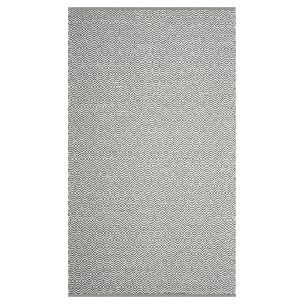 Ivory/Gray Stripe Flatweave Woven Area Rug - (5'X8') - Safavieh