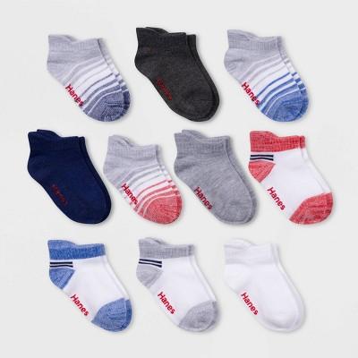 Hanes Baby Boys'10pk Heel Shield Athletic Socks - Colors May Vary 6-12M