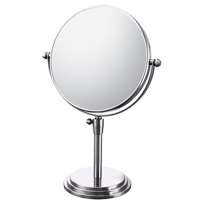 Classic Adjustable Free Standing Magnified Makeup Bathroom Mirror - Chrome - Bathroom Mirror Image