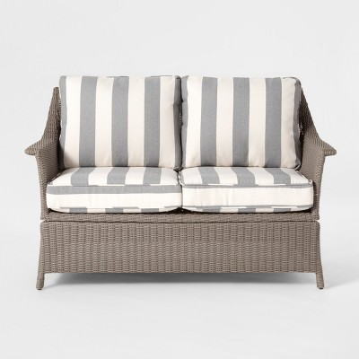 Foxborough Cabana Stripe Patio Loveseat - Gray/White - Threshold™