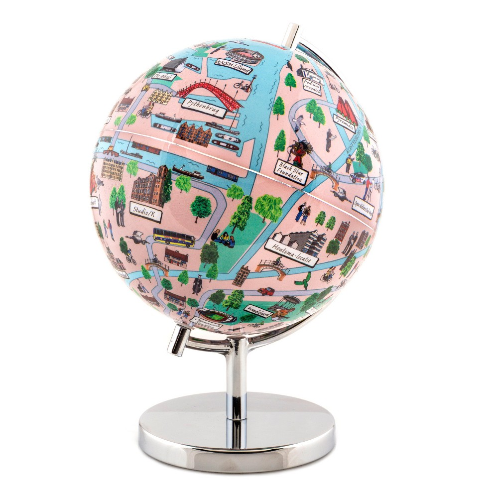 Globee Amsterdam 4 Illustrated Globe, Multi-Colored The Amsterdam globe comes mounted on a chrome silver stand. Each globe come with a 16 page booklet packed with interesting facts about the historic city and tourist sites depicted on the globe. The Amsterdam globe depicts all the major landmarks and tourist sites of the city as well as the major streets and some of the famous characters associated with it. Color: Multi-Colored. Age Group: Adult.