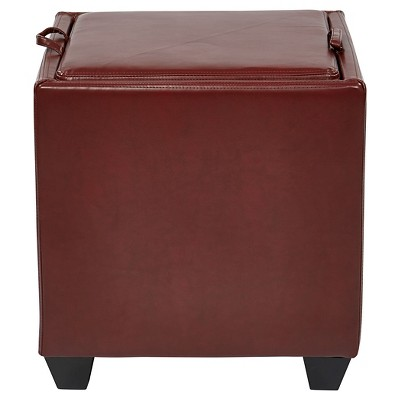 Superieur Eco Leather Storage Ottoman With Tray Crimson Red   Office Star : Target
