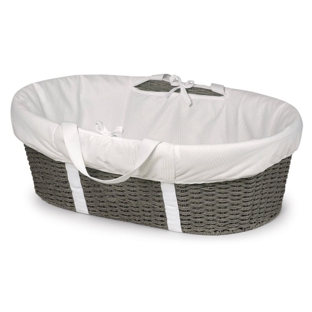 Badger Basket Wicker-Look Woven Baby Moses Basket with Bedding - Gray/White Badger Basket's elegant Wicker-Look Woven Baby Moses Basket allows your newborn to snooze blissfully close to you anywhere day or night. Everything you need is in the box - basket, foam pad, and bedding. No tools needed to assemble. Sturdy construction. Color: Gray. Gender: Unisex.