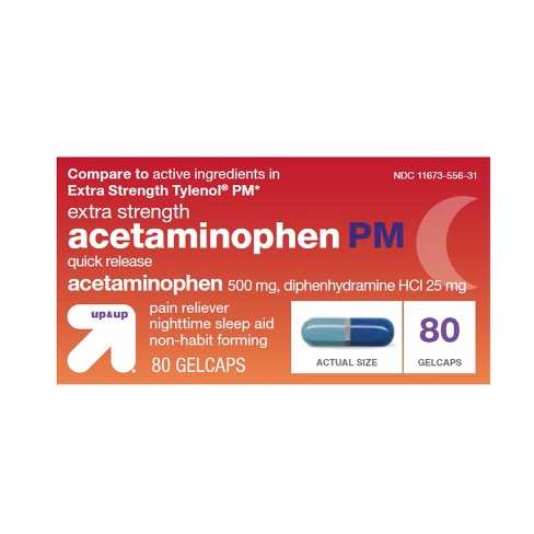 Acetaminophen PM Pain Reliever + Sleep Aid Quick Release Gelcaps - 80ct - Up&Up™ (Compare to active ingredients in Extra Strength Tylenol PM) - image 1 of 1