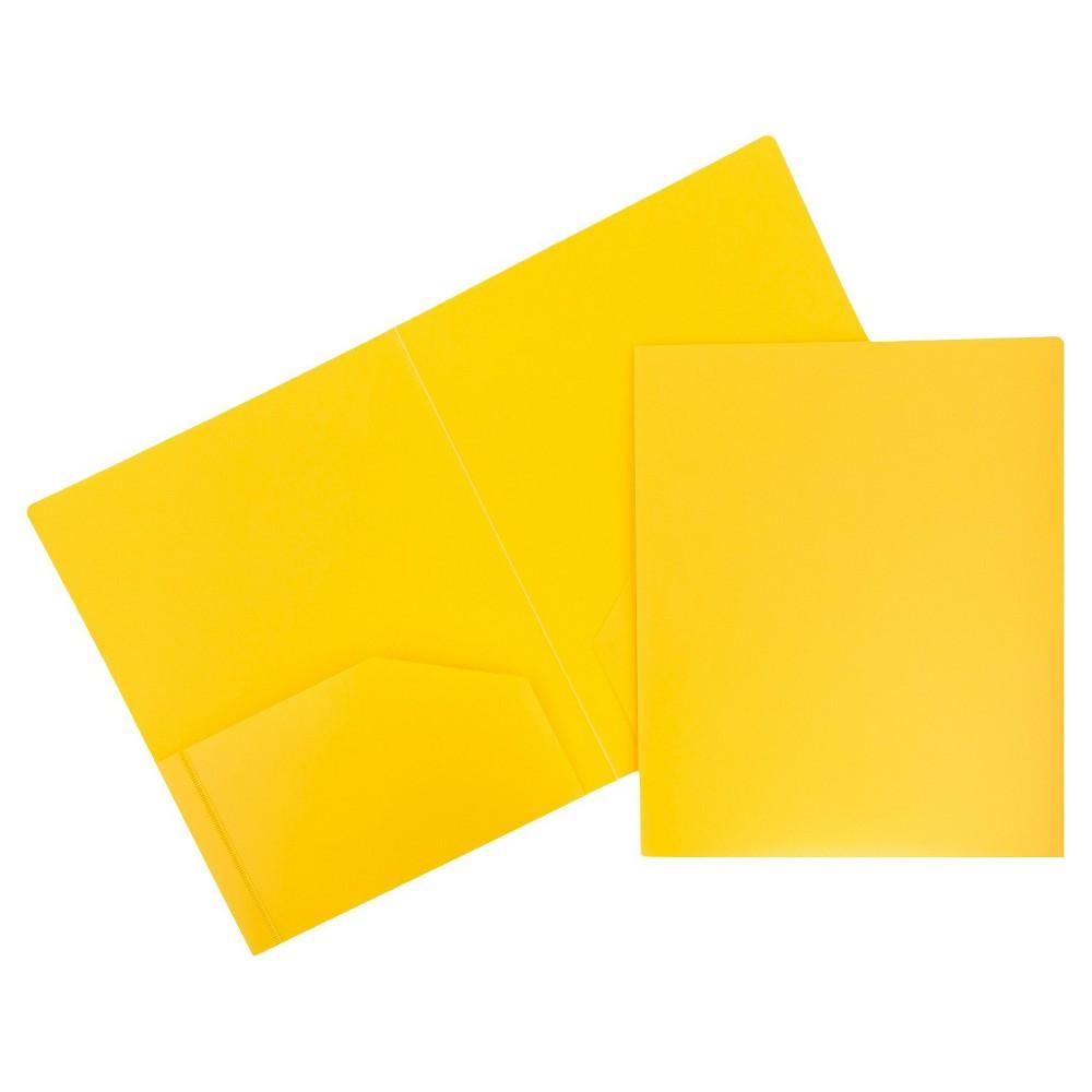 Jam Paper Heavy Duty Plastic Folder 6pk - Yellow