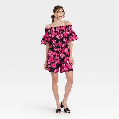 Women's Short Sleeve Smocked Bardot Top - Who What Wear™