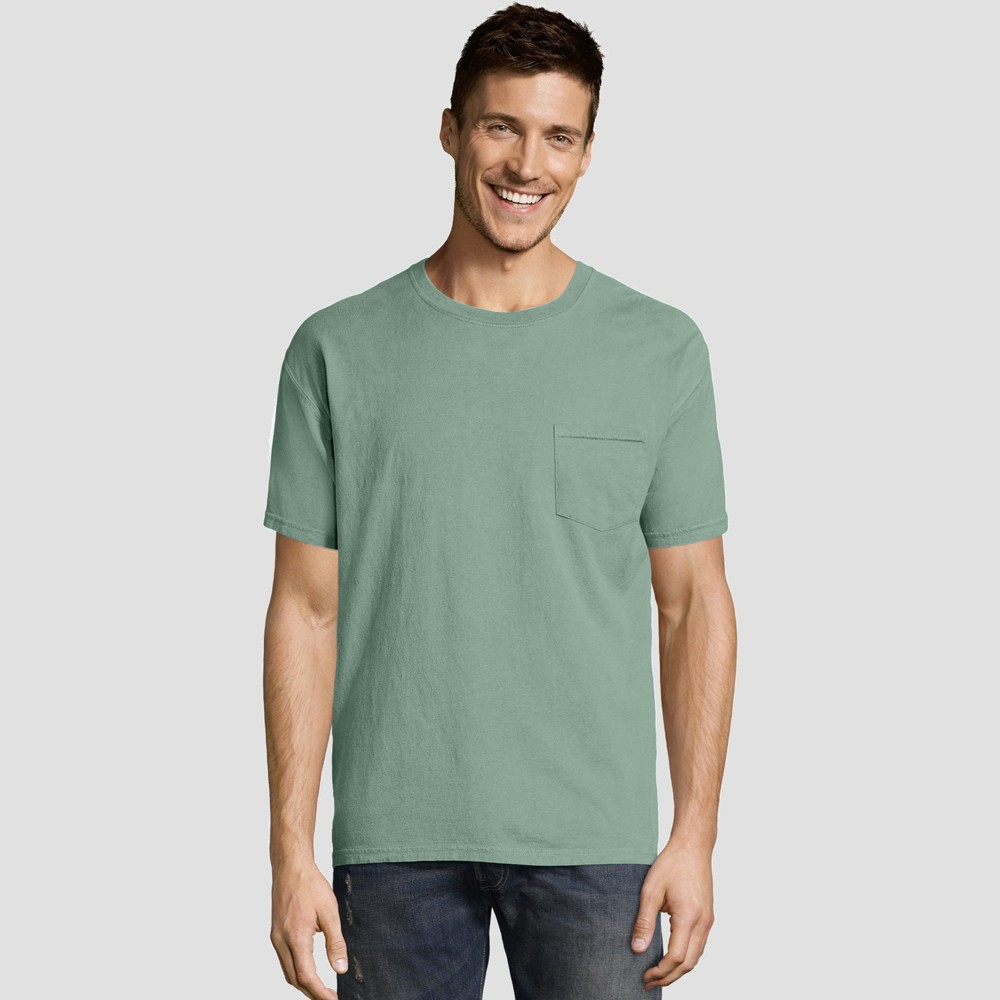 Hanes Mens Short Sleeve 1901 Garment Dyed Pocket T-Shirt - Green S Best