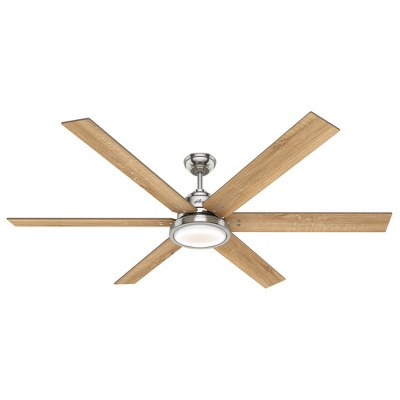 "70"" Warrant Ceiling Fan with Wall Control Nickel (Includes LED Light Bulb) - Hunter Fan"