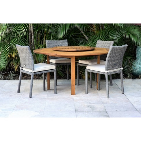 Teak Finish Lazy Susan Ia, Round Outdoor Dining Table With Lazy Susan