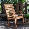 Logan Teak Patio Rocking Chair with Cup Holder - Light Brown - Cambridge Casual - image 3 of 4