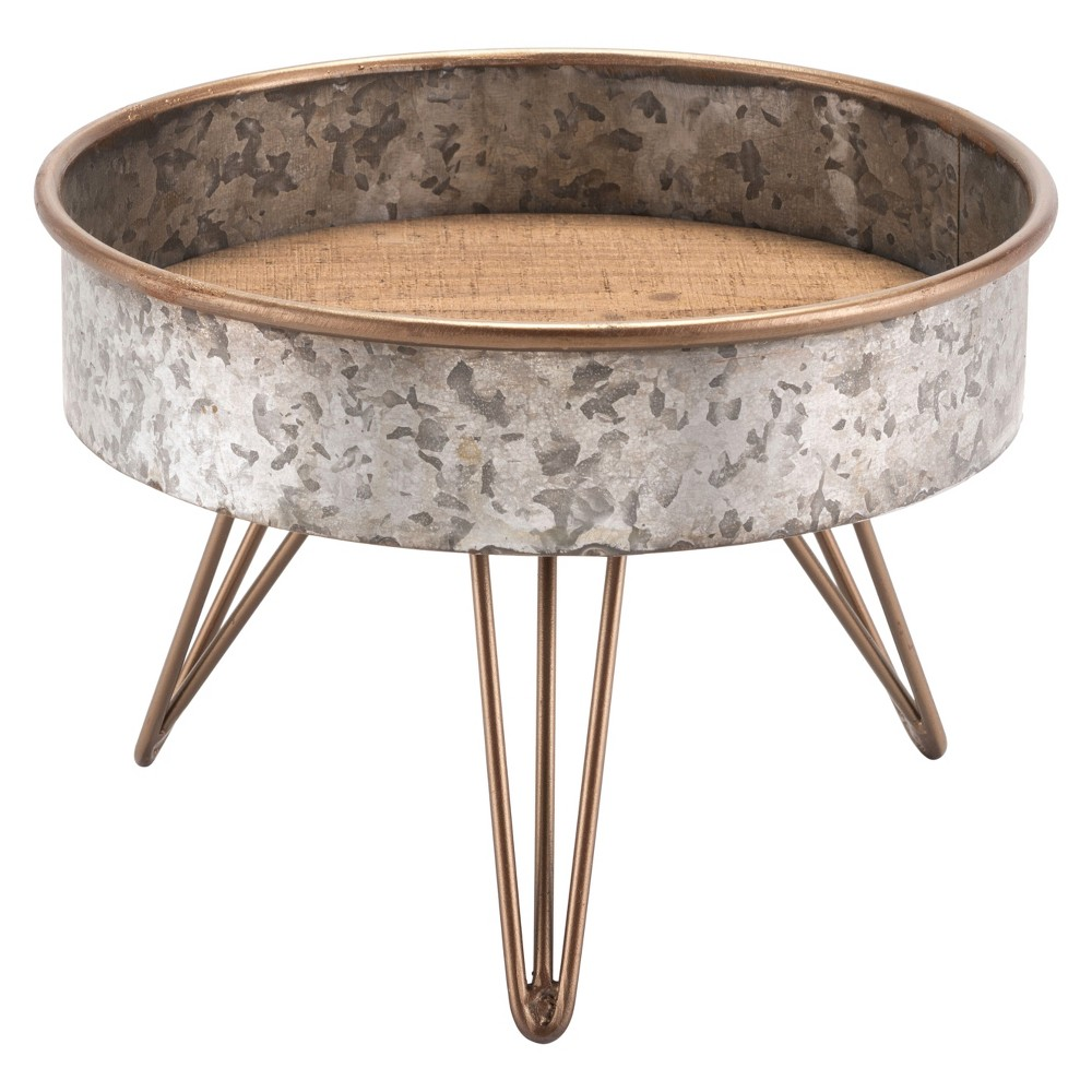 10 Industrial Round Tray Table - Zinc - ZM Home, Silver