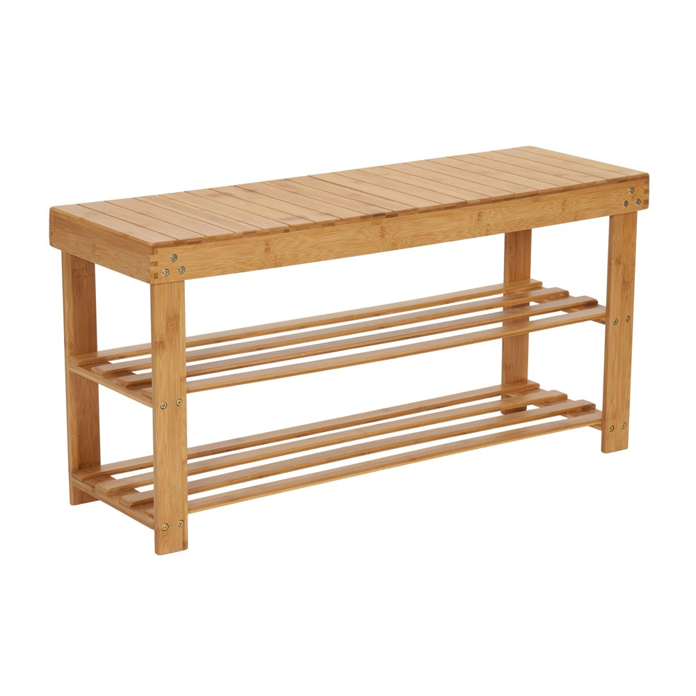 Image of Household Essentials 2-Tier Shoe Storage Bench - Bamboo, White