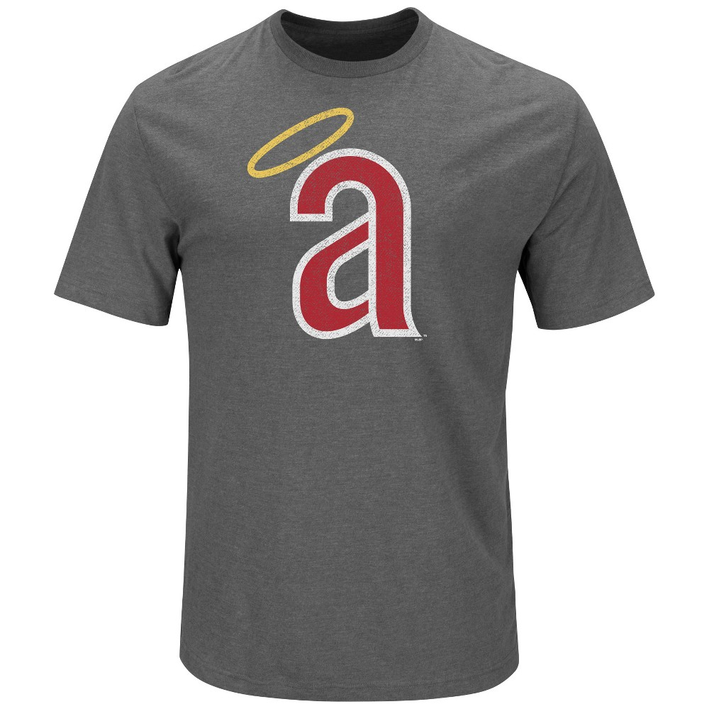 Los Angeles Angels Men's Short Sleeve Cotton Suede T-Shirt - Gray S
