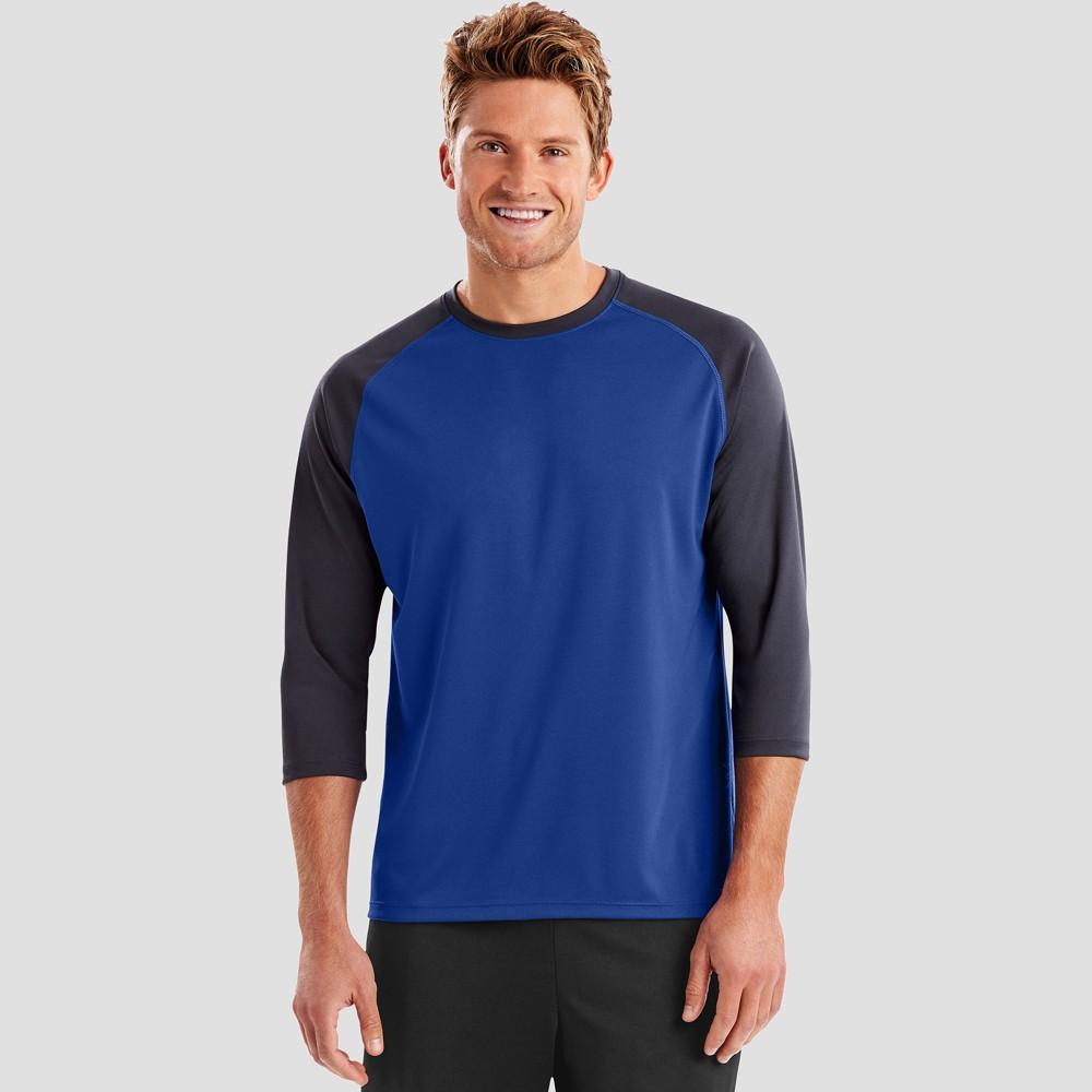 Hanes Sport Mens Performance Baseball T-Shirt - Blue S Top