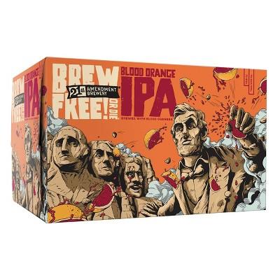 21st Amendment Brew Free! Or Die Blood Orange IPA Beer - 6pk/12 fl oz Cans