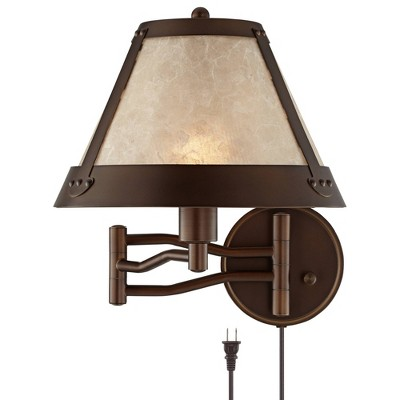Franklin Iron Works Rustic Mission Swing Arm Wall Lamp Industrial Bronze Plug-In Light Fixture Natural Mica Shade Bedroom Bedside