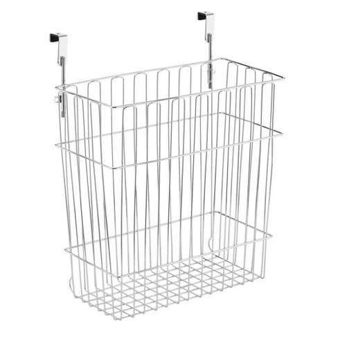Mdesign Hanging Over Cabinet Door Kitchen Storage Basket Trash Can Chrome Target