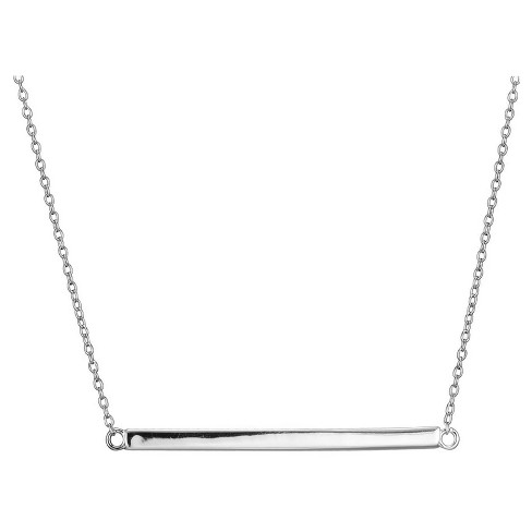 Sterling Silver Horizontal Bar Necklace With 18