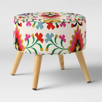 Aristida Round Cone Leg Ottoman Alejandra Print - Opalhouse™